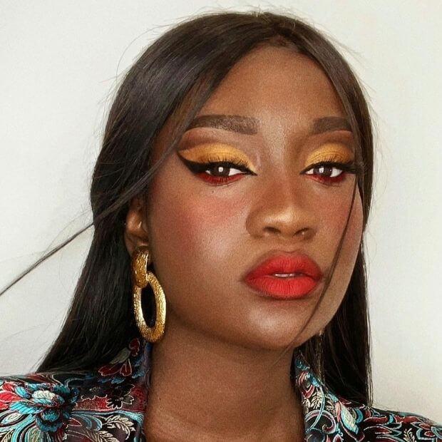 yellow makeup for eyes on black skin